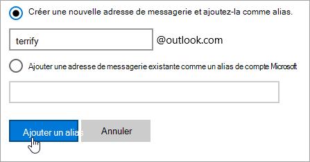Capture d'écran de la page Ajouter un alias.