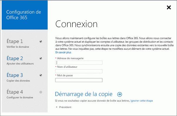 Entrez les informations sur le compte pour vous connecter à votre serveur Exchange.