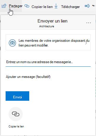 Option d'affichage du partage de fichiers