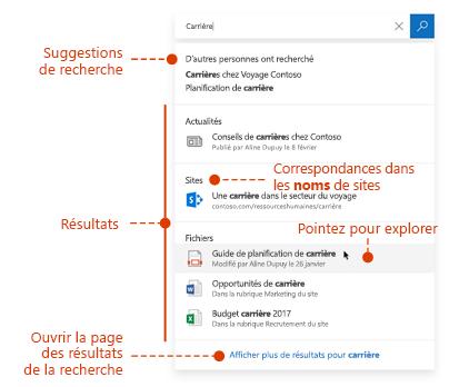 Capture d'écran de la zone de recherche