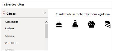Page Insérer des icônes avec «gâteau» dans la zone de recherche et 4icônes de gâteau différentes affichées
