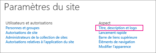 Options de titre, de description et de logo sous Paramètres du Site