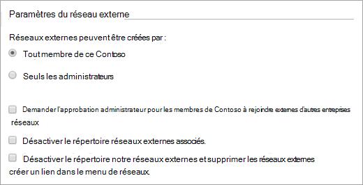 Liste des paramètres du réseau externe disponible