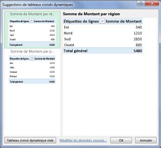 Dans Suggestions de tableaux croisés dynamiques, sélectionnez une disposition de tableau croisé dynamique dans Excel
