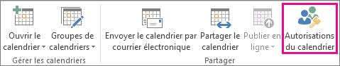 Bouton Autorisations du calendrier dans l'onglet Accueil d'Outlook 2013