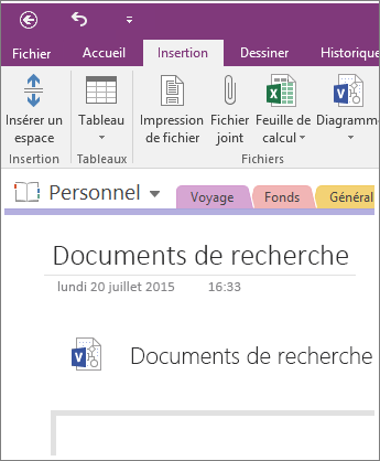 Capture d'écran de l'insertion d'un diagramme Visio dans OneNote 2016