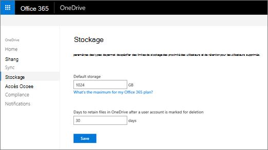 L'onglet espace de stockage OneDrive centre d'administration