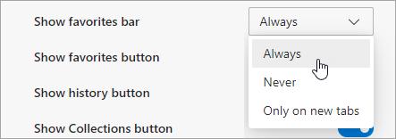 Sélectionner une option pour afficher le volet des favoris