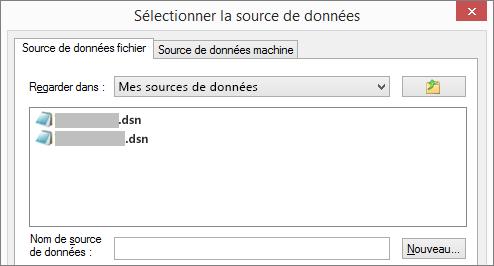 Boîte de dialogue Sélectionner la source de données