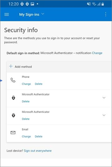 Page Activité récente avec des informations de sécurité