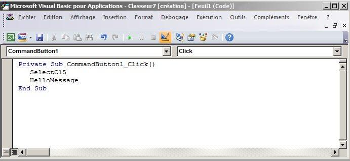 Procédure Sub dans Visual Basic Editor