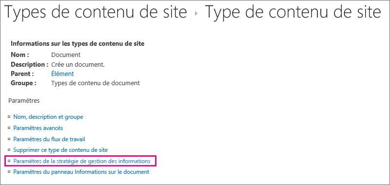 Lien Stratégie de gestion des informations dans la page Paramètres d'un type de contenu de site