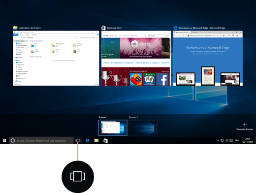 Capture d'écran des bureaux virtuels