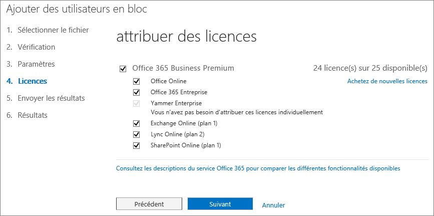 Étape4 de l'Assistant Ajouter des utilisateurs en bloc - Licences