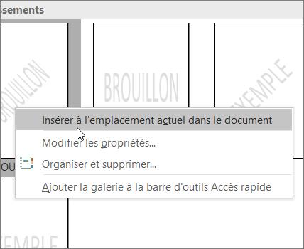 Cliquez avec le bouton droit de la souris sur la miniature du filigrane montrant la commande Insérer à l'emplacement du document actif.