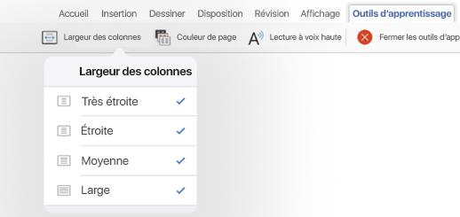 Affichage des options de largeur de colonnes pour les outils d'apprentissage