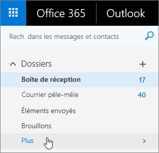 Capture d'écran du curseur pointant sur le bouton autres dans le volet de navigation dans Outlook sur le web.