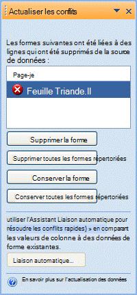 Fenêtre Actualiser les conflits qui recense les formes qui n'ont plus de ligne correspondante dans la source de données.