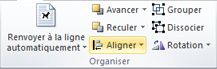 Groupe Réorganisation pour l'alignement d'objets dans Publisher2010