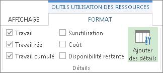 Onglet Format des outils d'utilisation des ressources, bouton Ajouter des détails