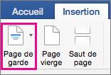 Dans le menu Insertion, sélectionnez Page de garde