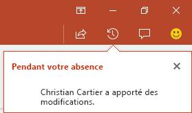 PowerPoint pour Office365 indique qui a apporté des modifications à un fichier partagé en votre absence