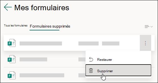 Suppression d'un formulaire sous l'onglet Formulaires supprimés de Microsoft Forms.