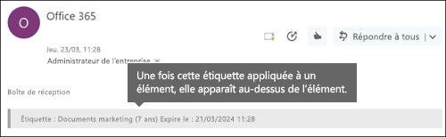 Étiquette affectée au courrier électronique dans Outlook sur le web