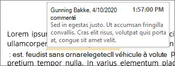 Commentaire incorporé avec info-bulle