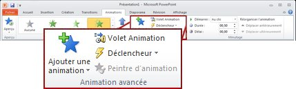 Groupe Animation avancée de l'onglet Animations.