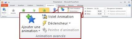 Groupe Animation avancée de l'onglet Animations.