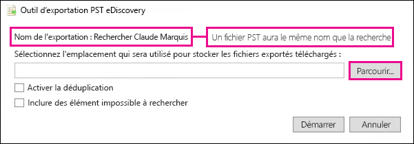 Outil d'exportation PST eDiscovery
