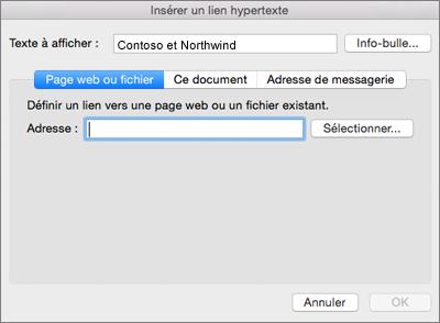 Affiche les options pour insérer un lien hypertexte vers une page web, une adresse e-mail ou un document