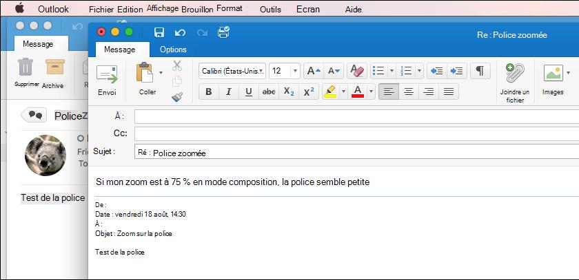 Outlook pour la taille de police sur Mac