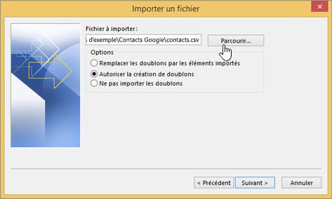 Recherchez le fichier CSV contenant vos contacts et choisissez le mode de traitement des contacts en double