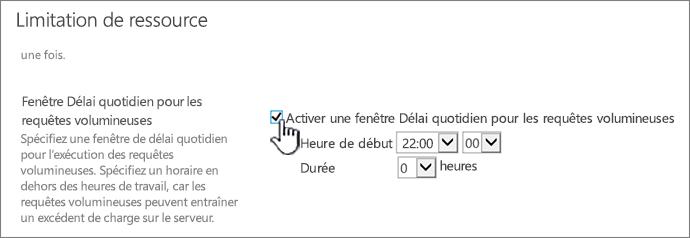 Page des paramètres d'application de l'Administration centrale avec la fenêtre Délai quotidien en évidence