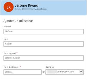La combinaison du nom d'utilisateur et du domaine constituent l'identifiant Office365 de l'utilisateur.
