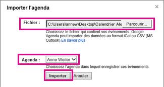 Calendrier Google - boîte de dialogue d'importation de calendrier