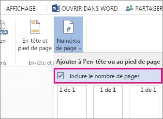 Image de la case à cocher à activer pour inclure le nombre de pages avec les numéros de page dans un document (page X sur Y).