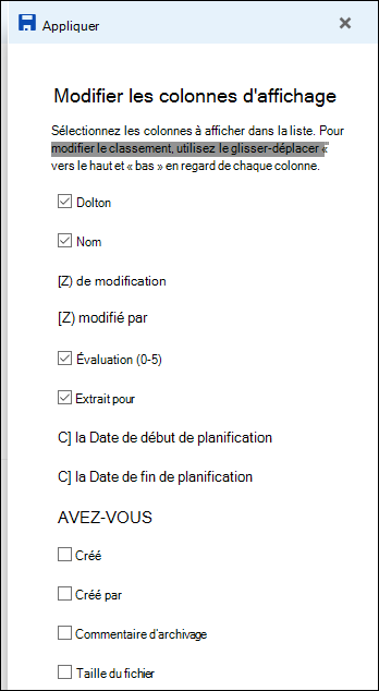 Affichage de liste de modification de bibliothèque de documents