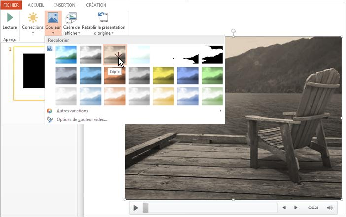 Changer la couleur de votre vidéo