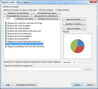Liste de modèles de rapports visuels Excel dans la boîte de dialogue Afficher les rapports