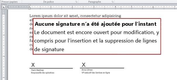 Document sans signature et donc ouvert aux modifications
