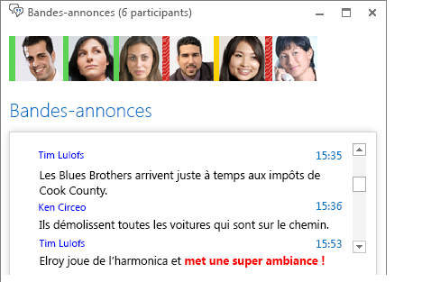 Capture d'écran de fenêtre de conversation présentant un nouveau message avec police rouge en gras et une émoticône ajoutée