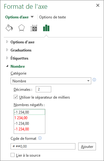 Section format de nombre dans les options d'axe