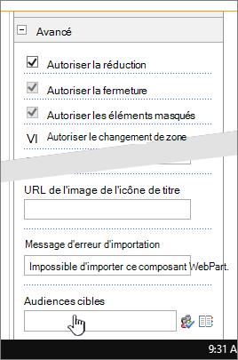 Section avancé des propriétés du composant WebPart avec public ciblé en surbrillance