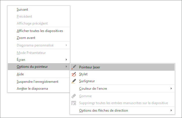 Menu d'options du pointeur dans PowerPoint