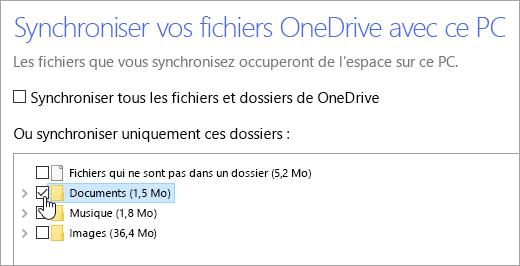 Capture d'écran montrant la boîte de dialogue «Synchroniser vos fichiers OneDrive à ce PC».