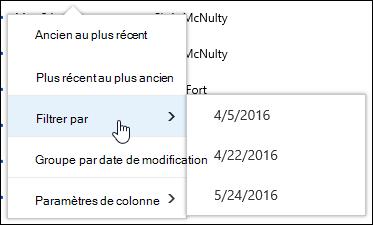 Filtrer l'affichage de bibliothèque de documents dans Office 365