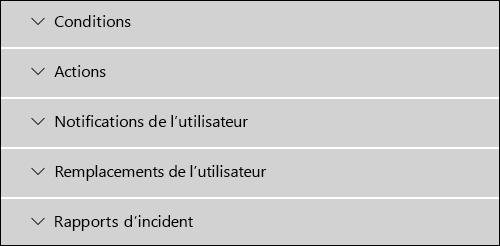 Sections de l'éditeur de règles DLP